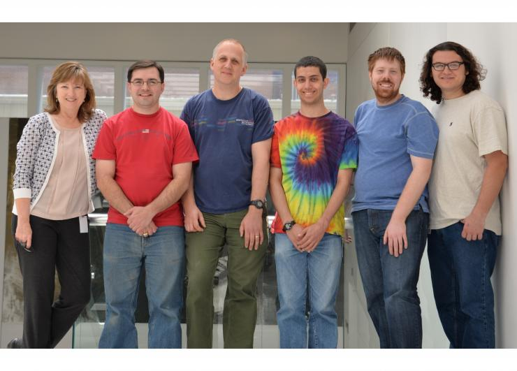 Lynn Zechiedrich, Ph.D., left is shown with members of her lab in the Department of Molecular Virology and Microbiology at Baylor College of Medicine. Pictured are, from left, Jamie Catanese, Ph.D., Jonathan Fogg, Ph.D., Ben Hornstein, Zachary Conley, an