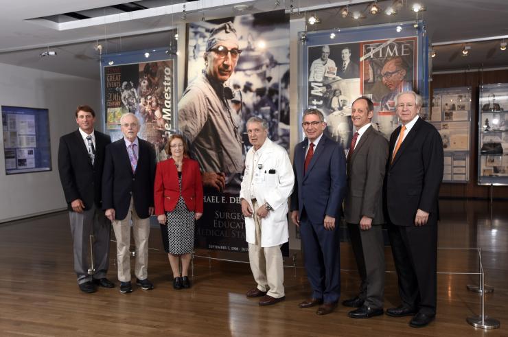(left to right) Drs. Benjamin R. Arenkiel, Bert W. O'Malley, Mary K. Estes, George R. Noon, Paul Klotman, Jordan S. Orange and Joseph S. Coselli.