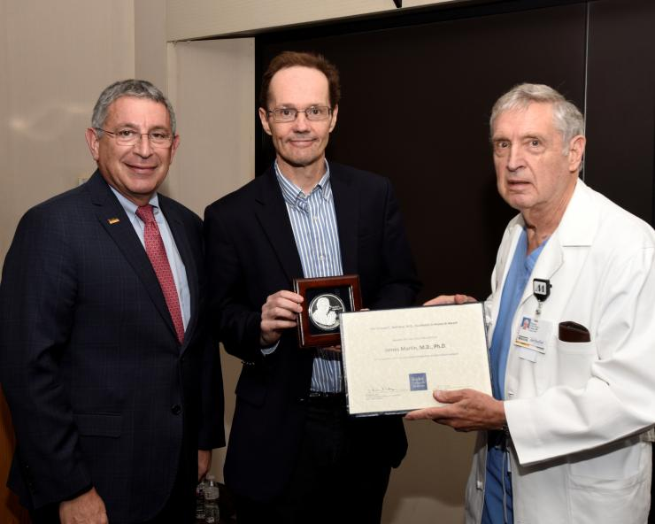 From left to right: Dr. Paul Klotman, Dr. James Martin and Dr. George Noon