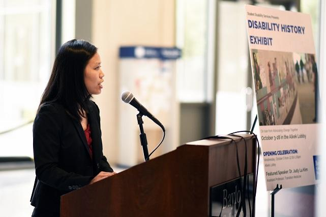 Photo of Dr. Judy Lu Kim speaking at Disability History Exhibit Opening for 2016 Diversity and Inclusion Week