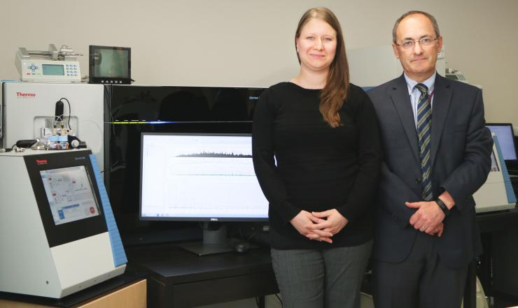 Dr. Anna Malovannaya and Dr. Matthew Ellis in the mass–spectrometry lab at Baylor College of Medicine.