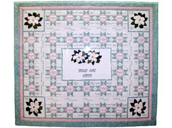 Breast cancer quilt which hangs on the wall of the Lester and Sue Smith Breast Center