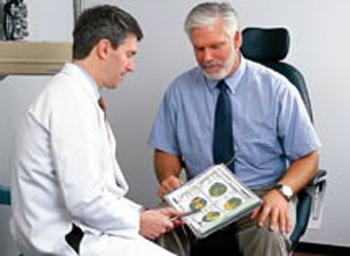 Doctor and patient discuss laser vision correction