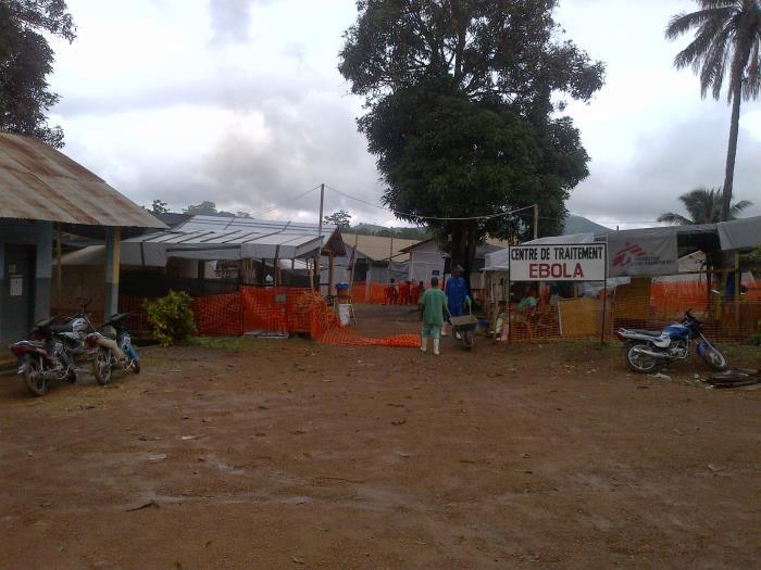 The entrance to an Ebola treatment center located in Guinea during the 2014 Ebola hemorrhagic fever outbreak across Guinea, northern Liberia, Sierra Leone, and Nigeria.