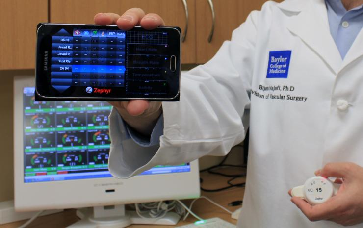 Vitals signs and patient data can be monitored wirelessly on various devices such as smart phones and tablets.