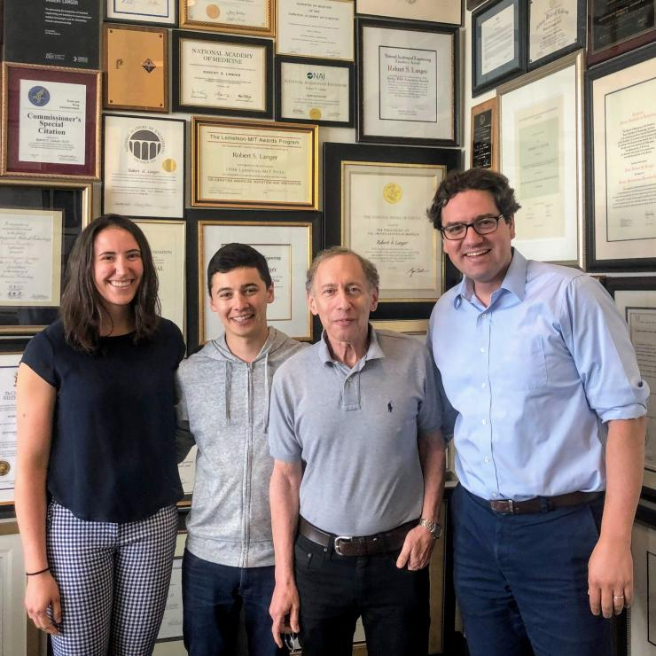 TRISH funded investigators at MIT exploring microbe therapy for deep space applications: Johanna L'Heureux, Dr. Miguel Jimenez, and Professors Robert Langer and Giovanni Traverso.