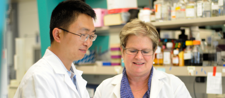 From left Dr. Xiaosong Wang and Dr. Rachel Schiff.