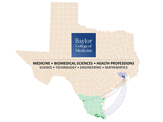 Map showing Texas Magnet School Affiliates Network