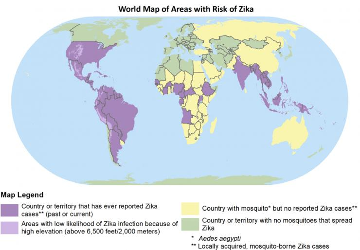 Map showing countries with Zika cases and mosquitoes