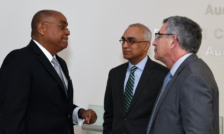 Dr. Paul Klotman and Ashok Balasubramanyam at ADA Press Conference with Commissioner Rodney Ellis