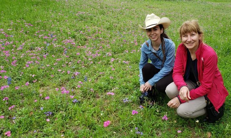 Justyna Karolak and her Polish boss Marzena Gajecka enjoying the wildflowers