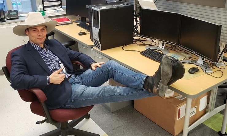 Tomek Gambin dons a cowboy hat on Go Texans Day 2019.