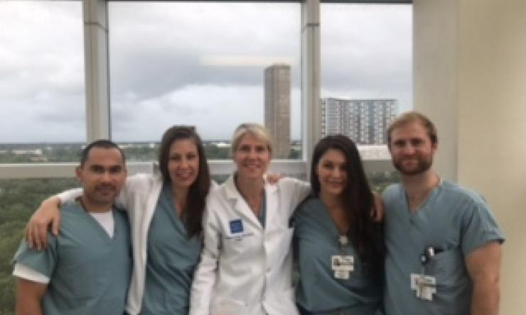 Residents and Dr. Gordy during hurricane Harvey.