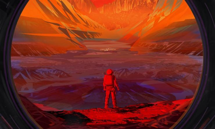 Illustration of an astronaut on Mars, as viewed through the window of a spacecraft. NASA hopes to return astronauts to the Moon and test technology there that will be useful for sending the first astronauts to Mars.