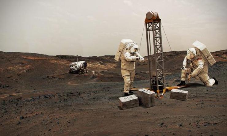 Illustration of NASA astronauts on Mars.