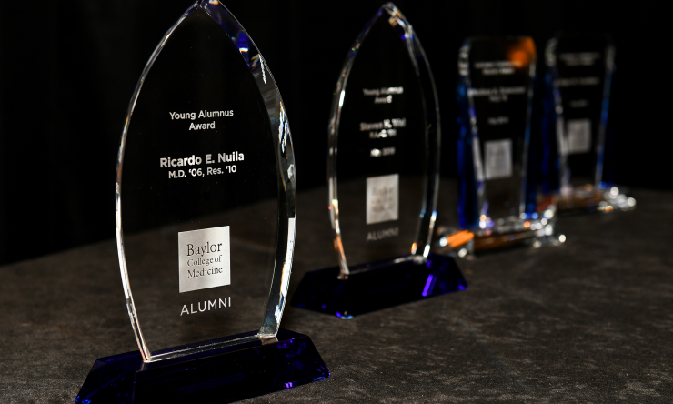 Crystal statues given at the Alumni Awards Ceremony