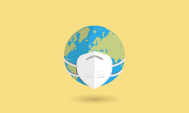 Globe wearing a mask