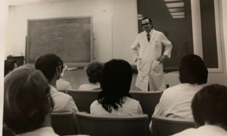 Members of the first Physician Assistant Program class listen to a lecture.