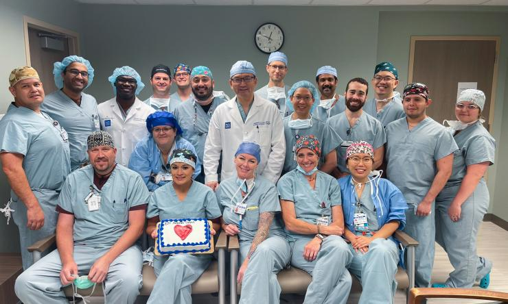 Dr. Liao and team celebrate their 200th Robotic heart surgery.
