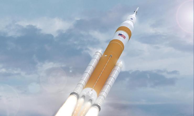 NASA's Evolved SLS Block 1B Crew Rocket In Flight