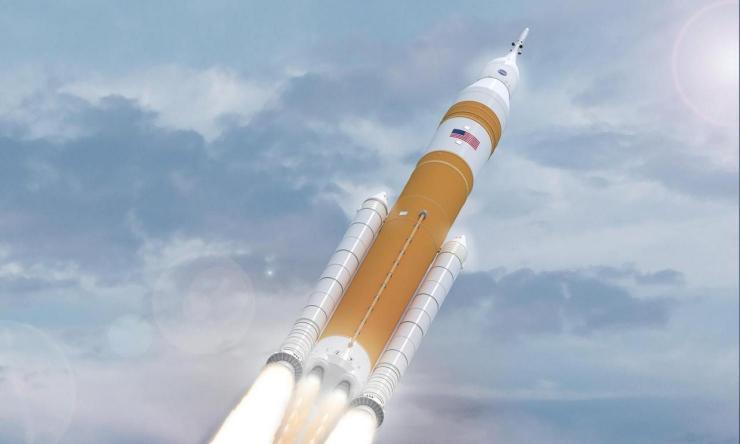Shuttle Rocket - NASA's Evolved SLS Block 1B Crew Rocket In Flight
