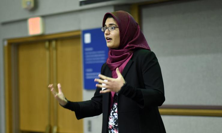 HPA student Fatemeh Mirghassemi gives an oral presentation at the 2016 HPA Symposium