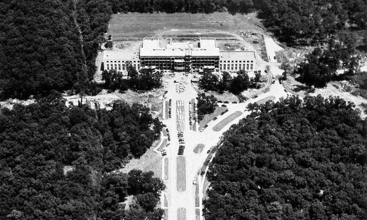 Construction begins on the Cullen Building in the Texas Medical Center in this 1947 photo courtesy of Baylor College of Medicine Archives.
