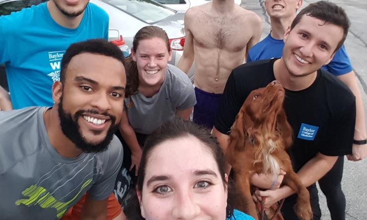 Running Club selfie! Even the dog is smiling! Join us for running fun.