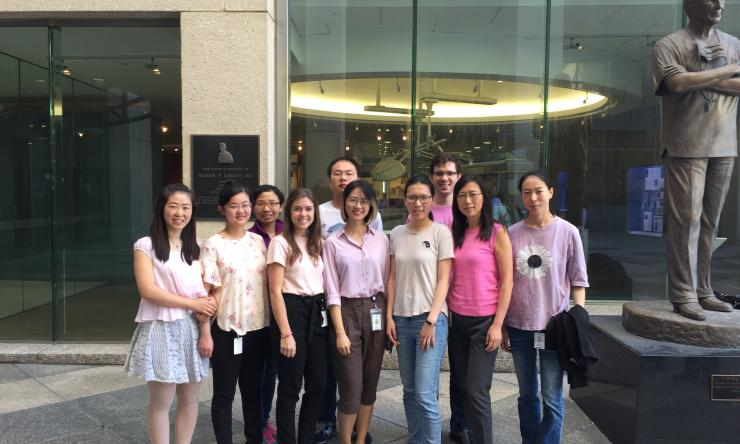 Members of the Cheng Lab dressed in pink in honor of breast cancer awareness month.