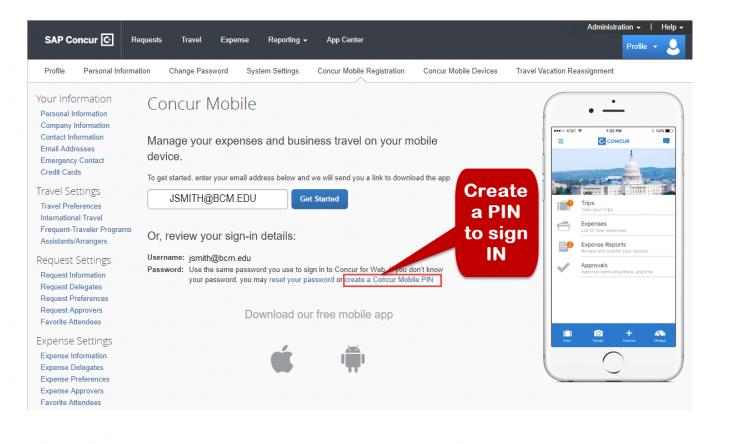 SAP Concur Mobile App Setup_Create PIN REV