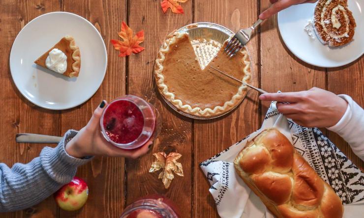 Thanksgiving foods - pie, bread, desserts.