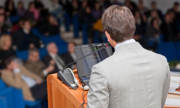 Seminar speaker and audience photo
