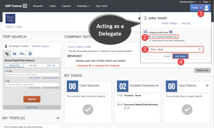 Homepage Concur Acting as a Delegate