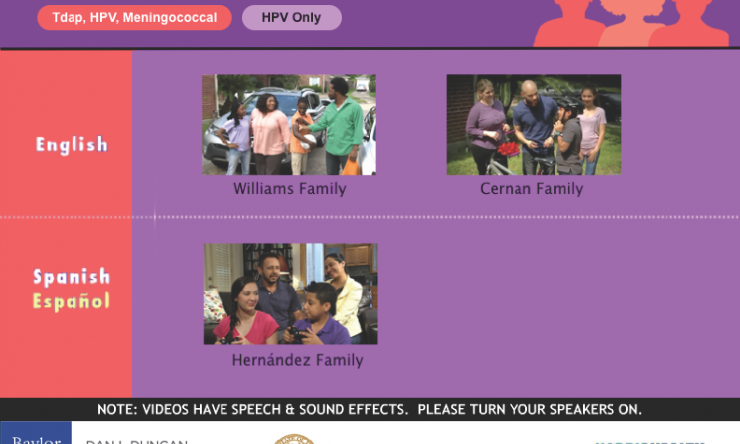 Point of care videos for HPV vaccine education