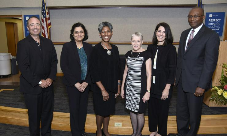 Dr. Alicia Monroe with the recipients of the Master Clinician Faculty Award for Excellence in Patient Care, from left to right, Dr. Glenn Levine, Dr. Sheila Loboprabhu, Dr. Nancy Glass, Dr. Evelyn Paysse and Dr. Oluyinka Olutoye.