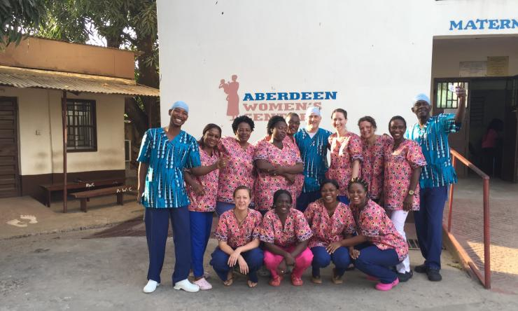 Dr. Jeff Wilkinson and Dr. Rachel Pope with the medical team at Aberdeen Women's Hospital, Sierra Leone