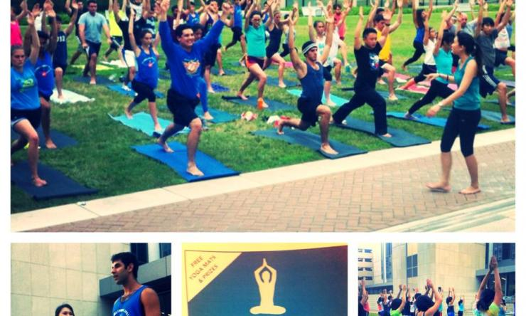 Medical students participate in the first annual BCM Yoga Night